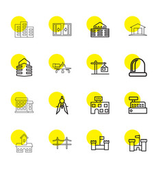 16 architecture icons vector image