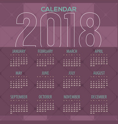 2018 modern purple geometric pattern calendar vector image