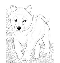 adult coloring bookpage a cute dog on the vector image