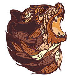 angry bear head in brown colors vector image