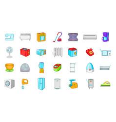 appliances icon set cartoon style vector image