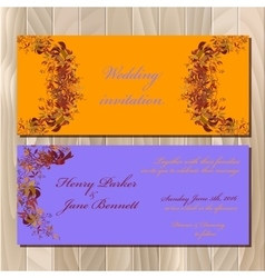 Autumn orange wild grape wedding invitation card vector