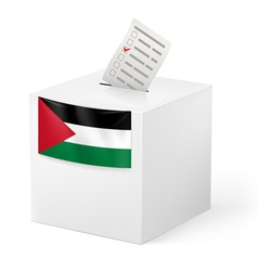 Ballot box with voting paper palestine vector