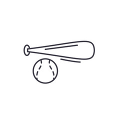 baseball bat and ball line icon concept baseball vector image