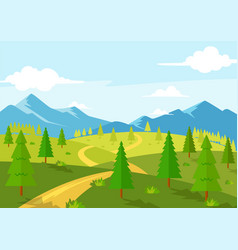 Beautiful road nature spring season landscape view vector