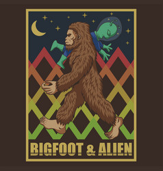 Bigfoot and alien retro vector