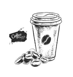 Black and white coffee paper cup vector