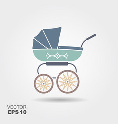 blue baby pram icon vector image