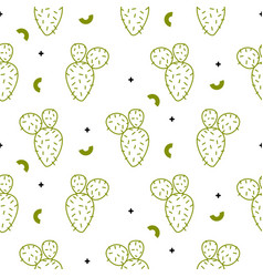 Cactus simple green line style pattern vector