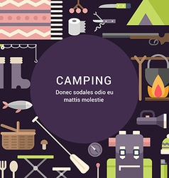 Camping Concept Flat Style with Place for Text vector