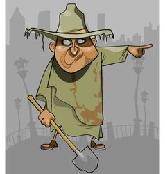 Cartoon man in dirty ragged clothes with a shovel vector