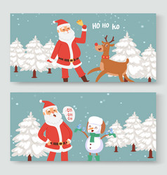 cartoon santa claus indeer and snowman for vector image