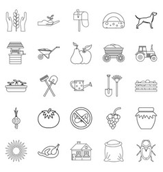 Chalet icons set outline style vector