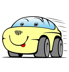 cheerful yellow car vector image