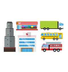 city skyscraper architecture building truck car vector image