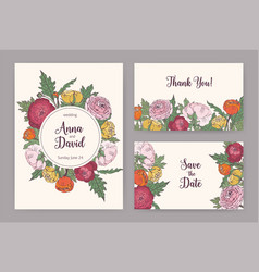 collection of elegant wedding invitation save the vector image vector image
