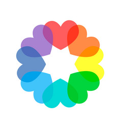 colorful rainbow colored hearts vector image