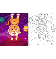 Coloring book for kids with a cute tiger vector