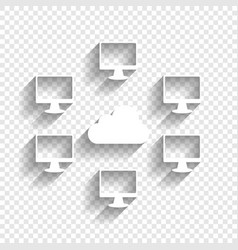 Computers nerk sign white icon with soft vector