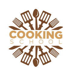 cooking school class icon template cook vector image