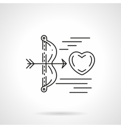 Cupids arrow shoots heart flat line icon vector image