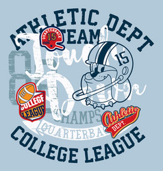 cute bulldog american football college league vector image