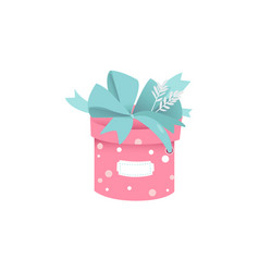 cute round gift box of pink color with polka dot vector image