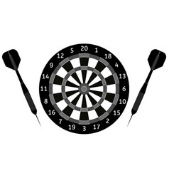 Darts board and darts arrows black icon vector