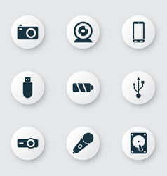 device icons set with battery projector web vector image