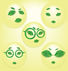 different expressions of sun face vector image