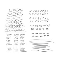 different random drawn lines wavy doodles vector image
