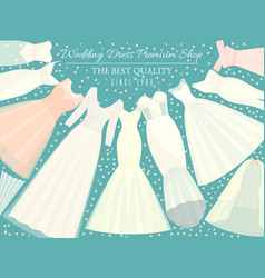 different styles wedding dresses banner vector image