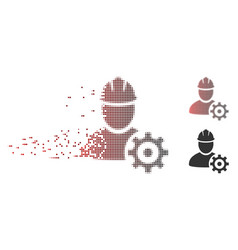 disintegrating pixel halftone service man icon vector image