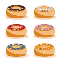 Donuts with different tastes design set vector