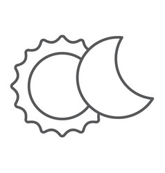 Eclipse thin line icon space and astronomy solar vector
