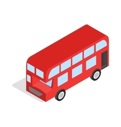 English red bus icon isometric 3d style vector