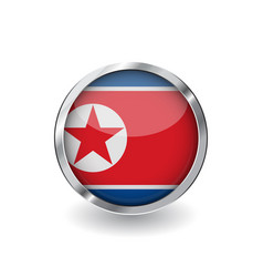 flag of north korea button with metal frame and vector image
