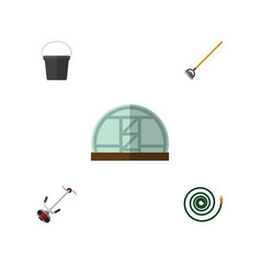 Flat icon dacha set of grass-cutter tool pail vector