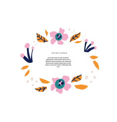Floral greeting card hand drawn template vector