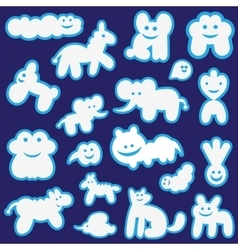 funny clouds animals cartoons vector image
