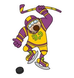 Funny Hockey player with stick and puck vector