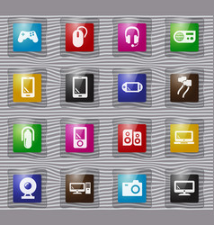 gadget glass icons set vector image