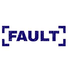 Grunge textured fault stamp seal between corners vector