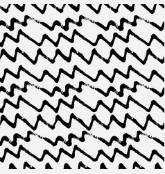hand drawn zig zag monochrome seamless pattern vector image