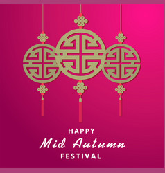 Happy mid autumn festival ornament red background vector