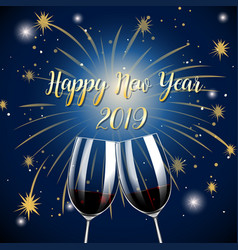 Happy new year 2019 champagne glasses vector