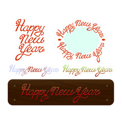 happy new year brush handdrawn lettering text on vector image