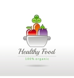 Healthy food logo icon with fruits vegetables and vector