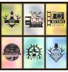 Hipster Post Card Set vector image