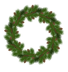 Holiday christmas wreath vector